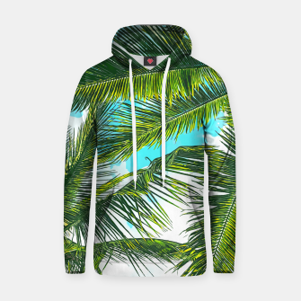 Miniatur Life Under Palm Trees, Colorful Bohemian Beachy, Tropical Travel Nature Graphic Design  Hoodie, Live Heroes