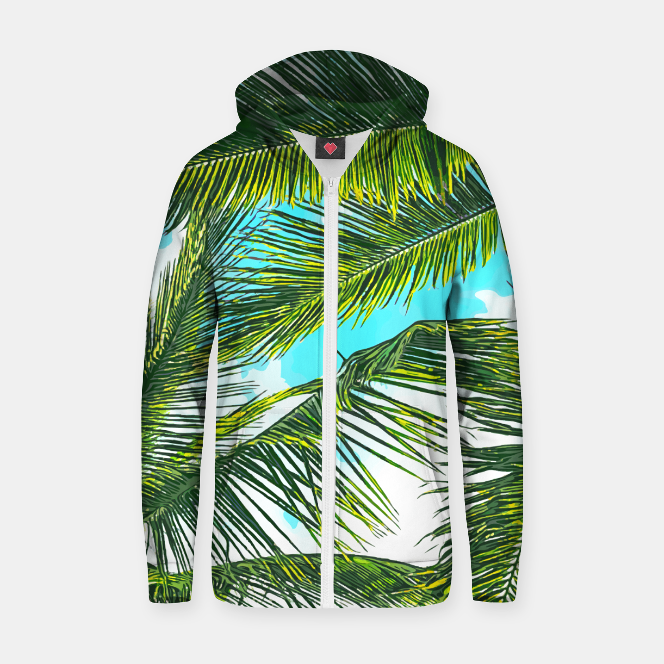 Image of Life Under Palm Trees, Colorful Bohemian Beachy, Tropical Travel Nature Graphic Design  Zip up hoodie - Live Heroes