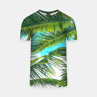 Miniatur Life Under Palm Trees, Colorful Bohemian Beachy, Tropical Travel Nature Graphic Design  T-shirt, Live Heroes
