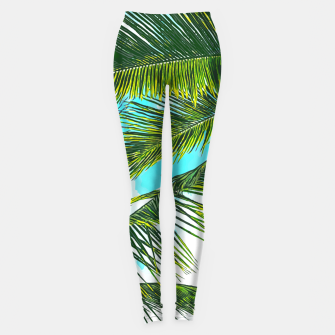 Miniatur Life Under Palm Trees, Colorful Bohemian Beachy, Tropical Travel Nature Graphic Design  Leggings, Live Heroes