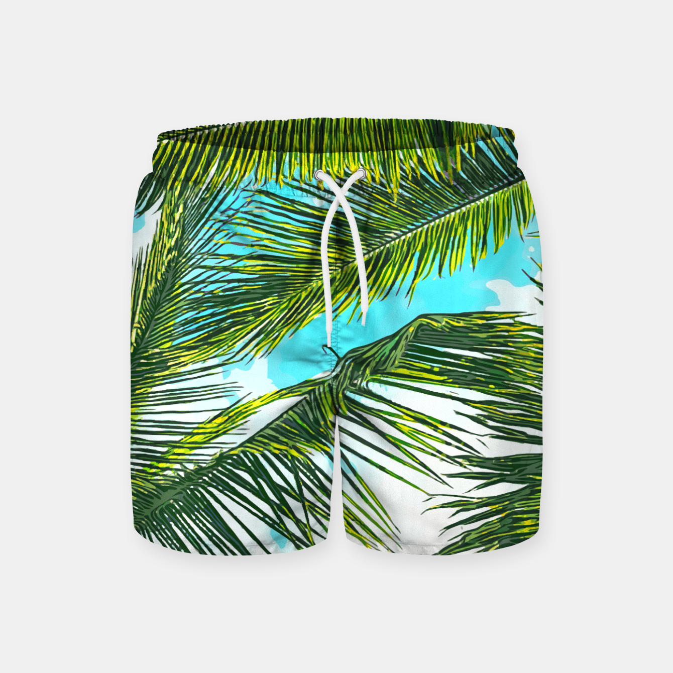 Image of Life Under Palm Trees, Colorful Bohemian Beachy, Tropical Travel Nature Graphic Design  Swim Shorts - Live Heroes