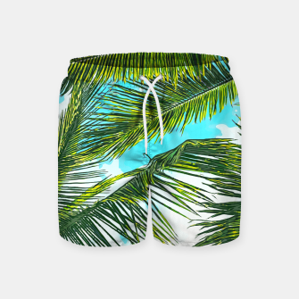 Miniatur Life Under Palm Trees, Colorful Bohemian Beachy, Tropical Travel Nature Graphic Design  Swim Shorts, Live Heroes