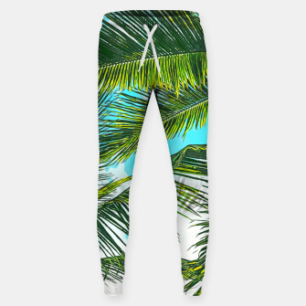 Miniatur Life Under Palm Trees, Colorful Bohemian Beachy, Tropical Travel Nature Graphic Design  Sweatpants, Live Heroes
