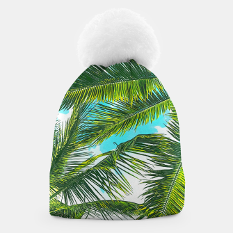 Miniatur Life Under Palm Trees, Colorful Bohemian Beachy, Tropical Travel Nature Graphic Design  Beanie, Live Heroes