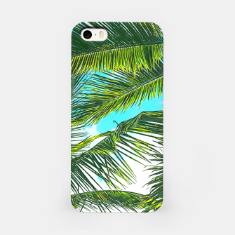Miniatur Life Under Palm Trees, Colorful Bohemian Beachy, Tropical Travel Nature Graphic Design  iPhone Case, Live Heroes