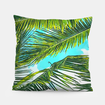 Miniatur Life Under Palm Trees, Colorful Bohemian Beachy, Tropical Travel Nature Graphic Design  Pillow, Live Heroes