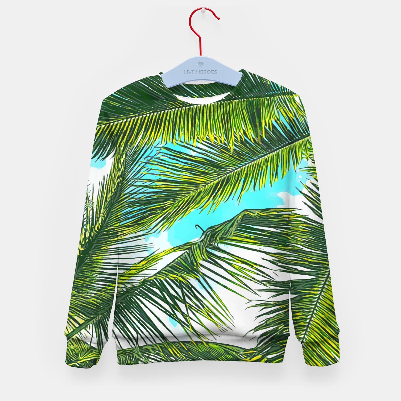 Image of Life Under Palm Trees, Colorful Bohemian Beachy, Tropical Travel Nature Graphic Design  Kid's sweater - Live Heroes