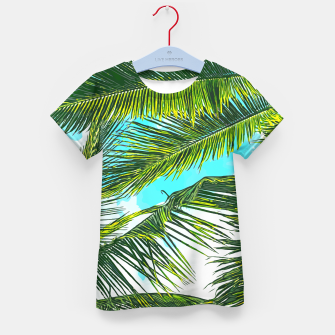Miniatur Life Under Palm Trees, Colorful Bohemian Beachy, Tropical Travel Nature Graphic Design  Kid's t-shirt, Live Heroes