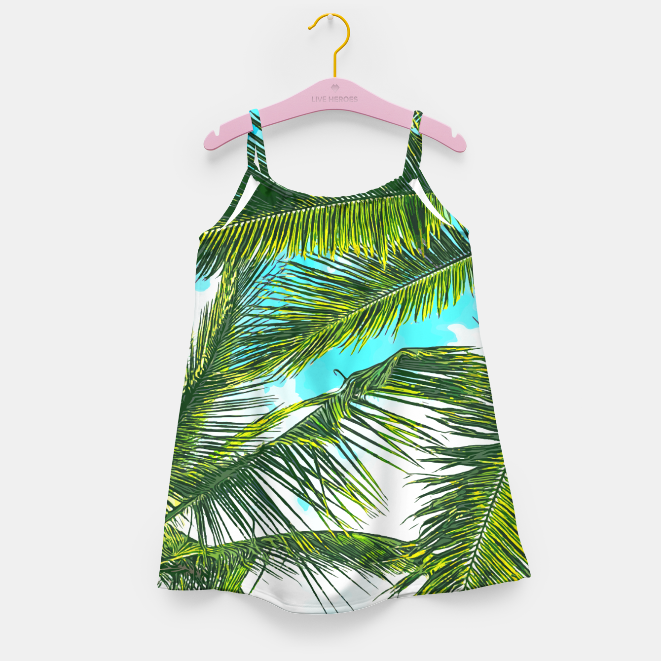 Image of Life Under Palm Trees, Colorful Bohemian Beachy, Tropical Travel Nature Graphic Design  Girl's dress - Live Heroes