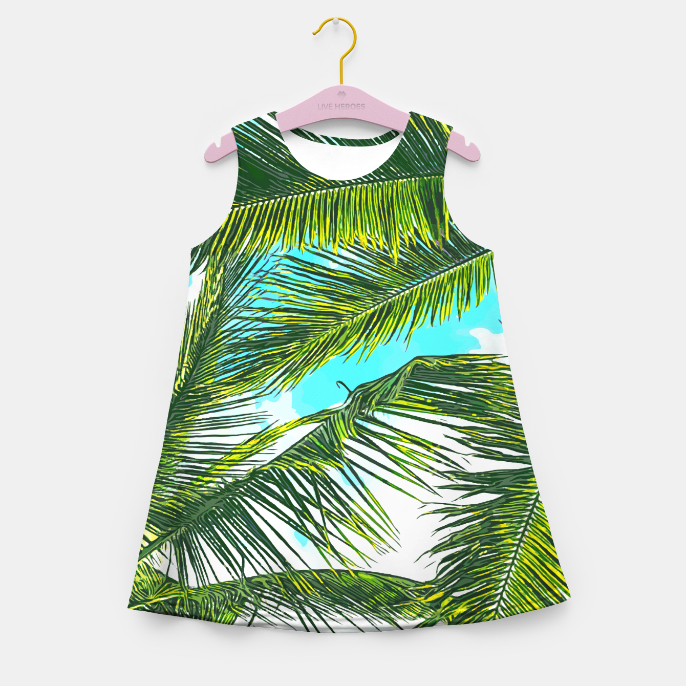 Zdjęcie Life Under Palm Trees, Colorful Bohemian Beachy, Tropical Travel Nature Graphic Design  Girl's summer dress - Live Heroes