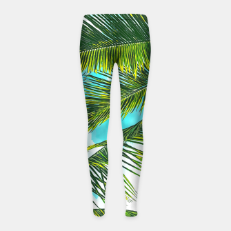 Miniatur Life Under Palm Trees, Colorful Bohemian Beachy, Tropical Travel Nature Graphic Design  Girl's leggings, Live Heroes