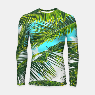 Miniatur Life Under Palm Trees, Colorful Bohemian Beachy, Tropical Travel Nature Graphic Design  Longsleeve rashguard , Live Heroes