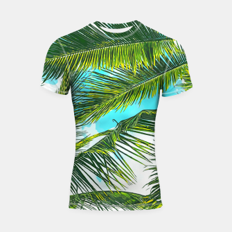 Miniatur Life Under Palm Trees, Colorful Bohemian Beachy, Tropical Travel Nature Graphic Design  Shortsleeve rashguard, Live Heroes