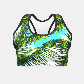 Miniatur Life Under Palm Trees, Colorful Bohemian Beachy, Tropical Travel Nature Graphic Design  Crop Top, Live Heroes