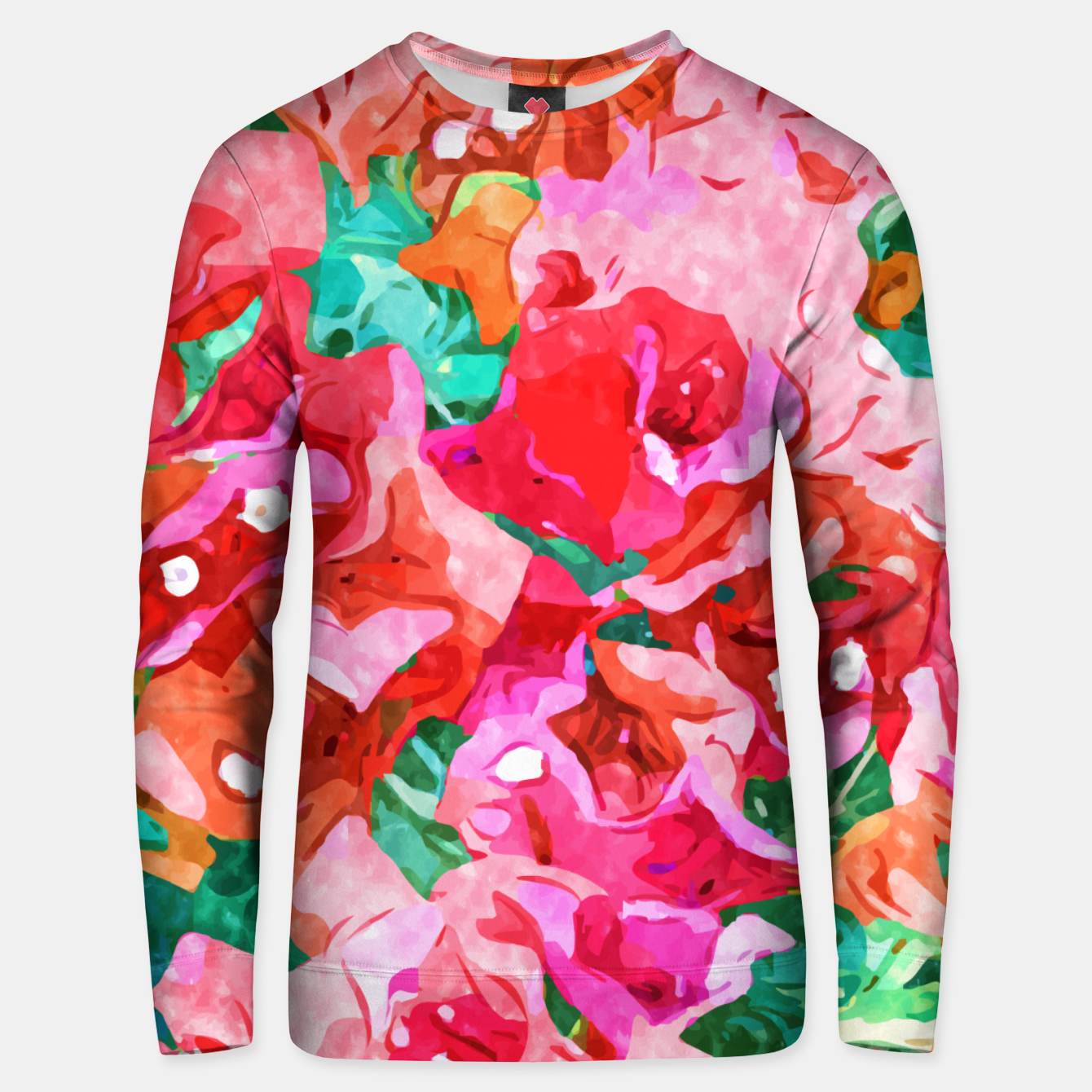Image of Wild Bougainvillea, Bloom Summer Floral Bohemian Pop of Color Botanical Jungle Watercolor Painting Unisex sweater - Live Heroes