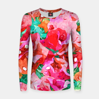 Wild Bougainvillea, Bloom Summer Floral Bohemian Pop of Color Botanical Jungle Watercolor Painting Women sweater thumbnail image