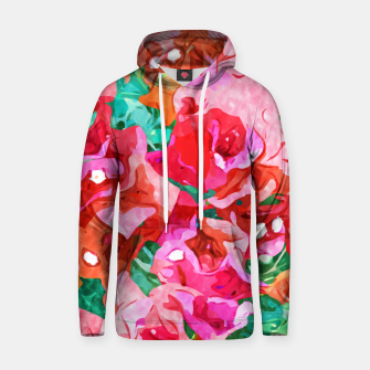 Wild Bougainvillea, Bloom Summer Floral Bohemian Pop of Color Botanical Jungle Watercolor Painting Hoodie thumbnail image