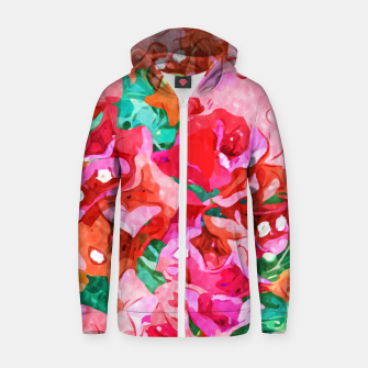 Wild Bougainvillea, Bloom Summer Floral Bohemian Pop of Color Botanical Jungle Watercolor Painting Zip up hoodie thumbnail image