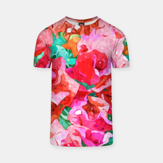 Wild Bougainvillea, Bloom Summer Floral Bohemian Pop of Color Botanical Jungle Watercolor Painting T-shirt thumbnail image