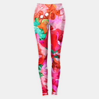 Thumbnail image of Wild Bougainvillea, Bloom Summer Floral Bohemian Pop of Color Botanical Jungle Watercolor Painting Leggings, Live Heroes