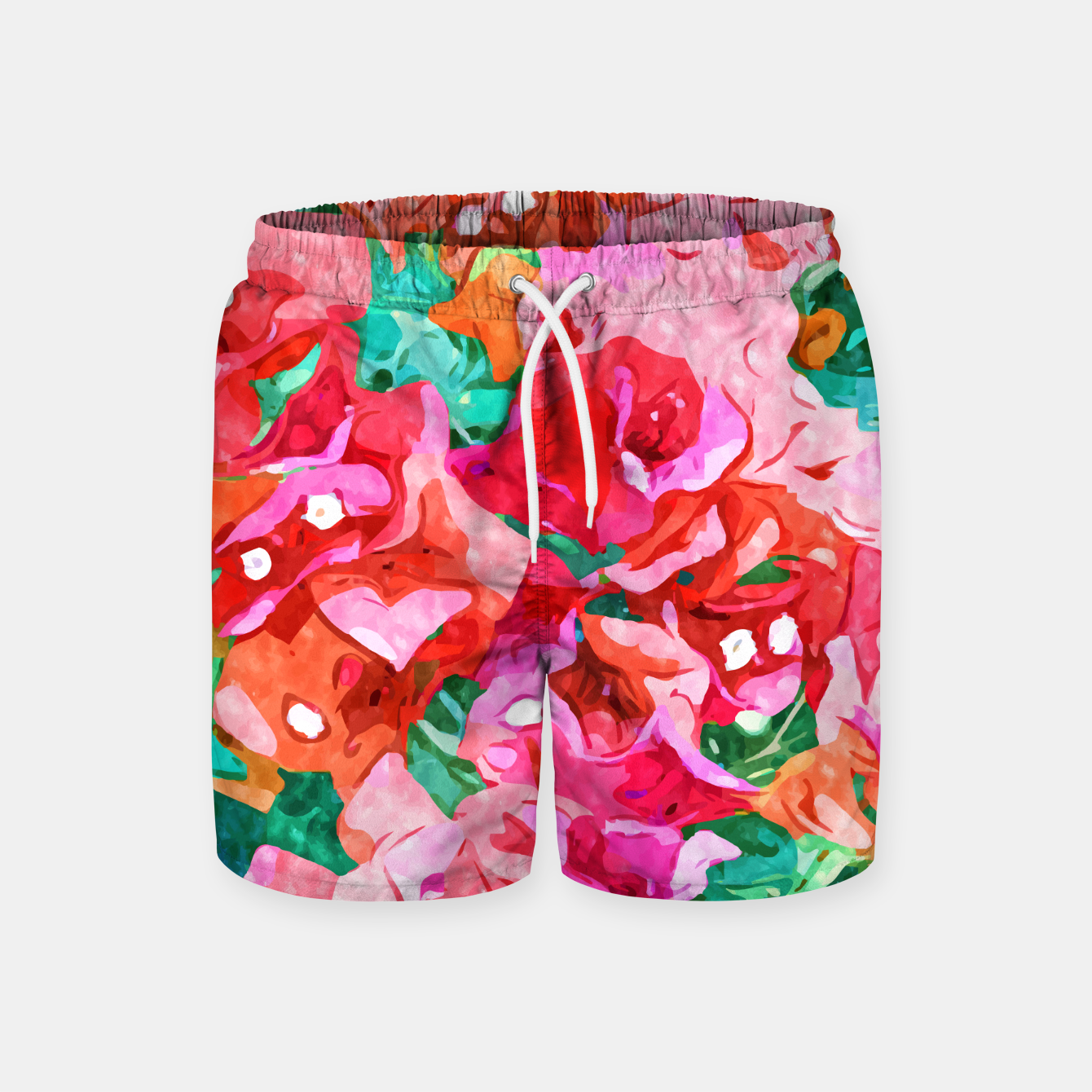 Image of Wild Bougainvillea, Bloom Summer Floral Bohemian Pop of Color Botanical Jungle Watercolor Painting Swim Shorts - Live Heroes