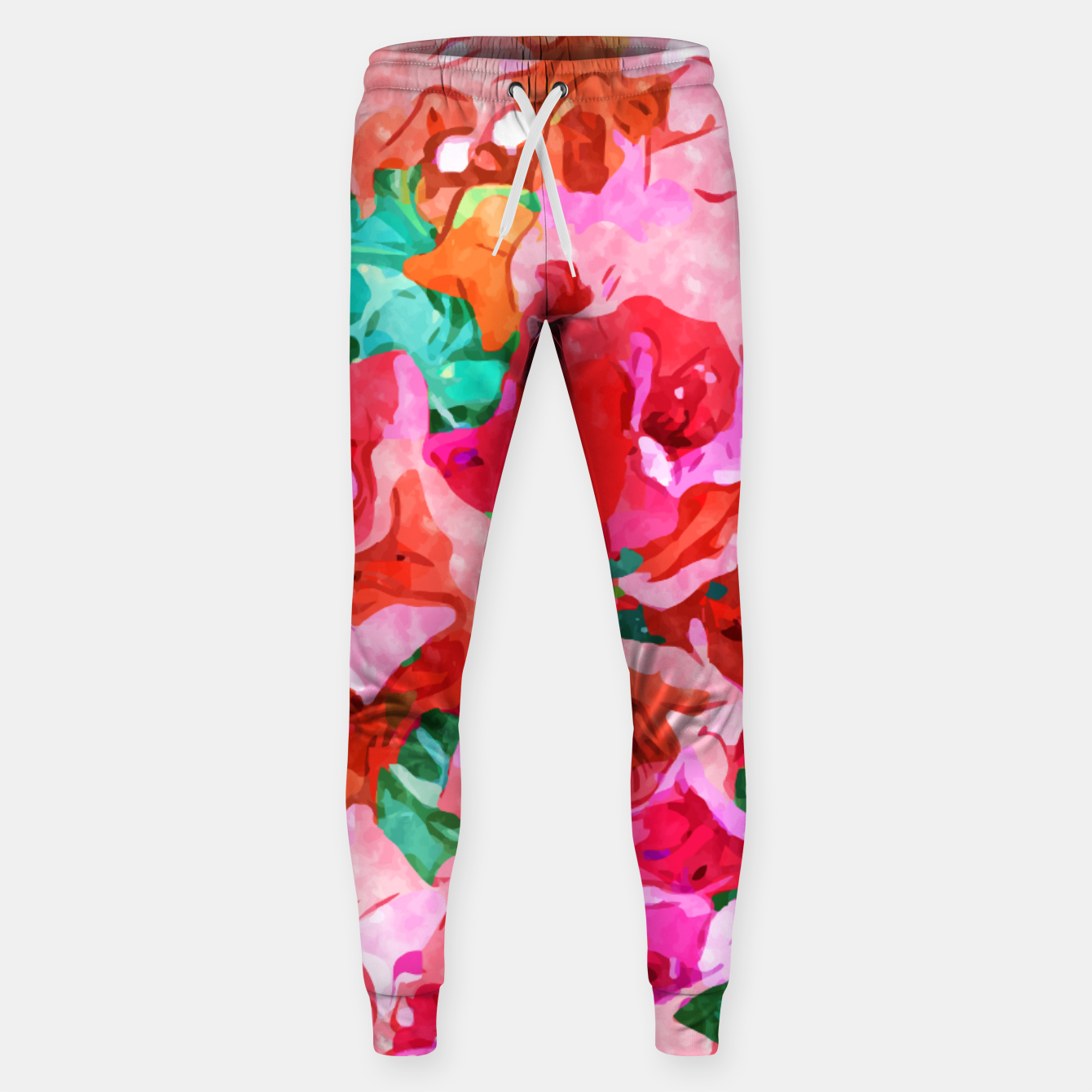 Image of Wild Bougainvillea, Bloom Summer Floral Bohemian Pop of Color Botanical Jungle Watercolor Painting Sweatpants - Live Heroes
