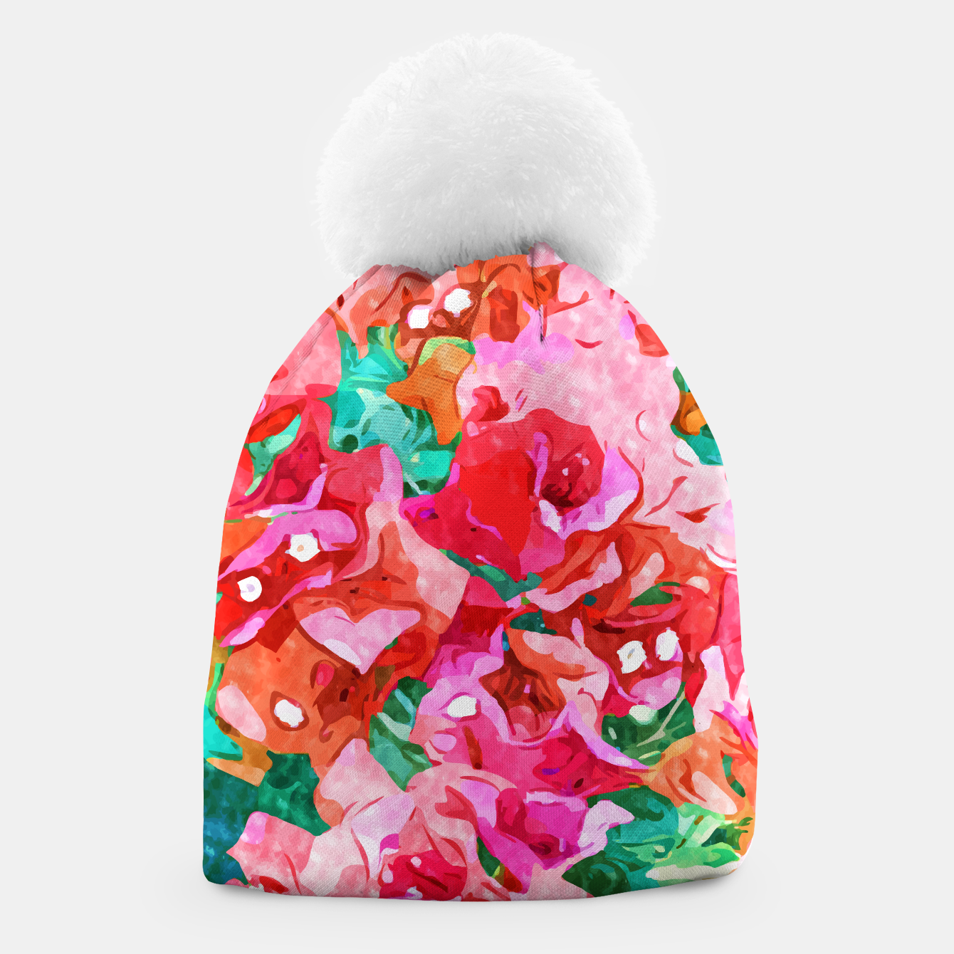 Image of Wild Bougainvillea, Bloom Summer Floral Bohemian Pop of Color Botanical Jungle Watercolor Painting Beanie - Live Heroes
