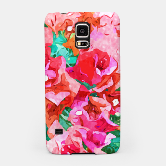 Wild Bougainvillea, Bloom Summer Floral Bohemian Pop of Color Botanical Jungle Watercolor Painting Samsung Case thumbnail image