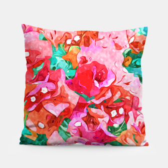 Wild Bougainvillea, Bloom Summer Floral Bohemian Pop of Color Botanical Jungle Watercolor Painting Pillow thumbnail image