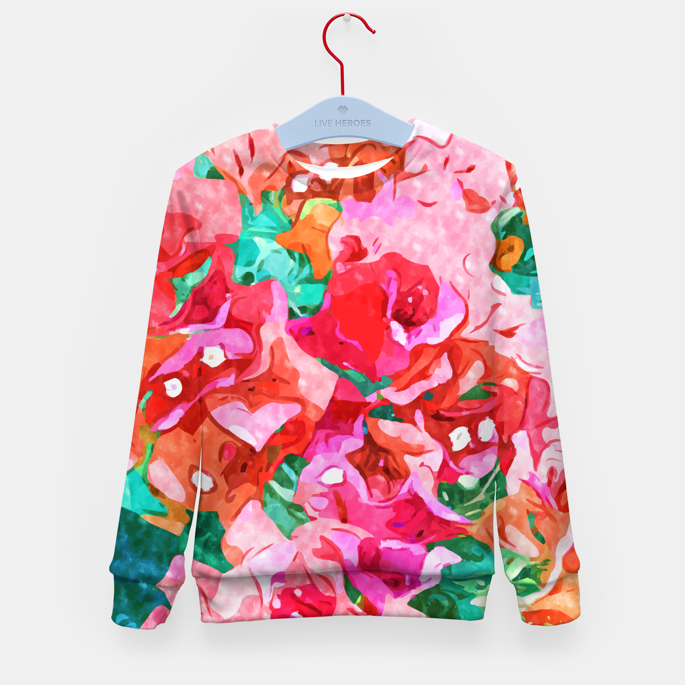 Image of Wild Bougainvillea, Bloom Summer Floral Bohemian Pop of Color Botanical Jungle Watercolor Painting Kid's sweater - Live Heroes