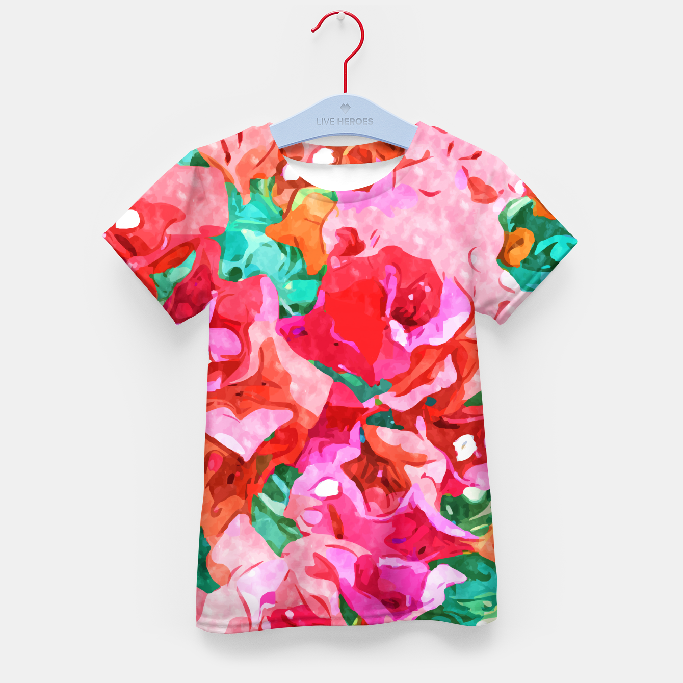 Image of Wild Bougainvillea, Bloom Summer Floral Bohemian Pop of Color Botanical Jungle Watercolor Painting Kid's t-shirt - Live Heroes