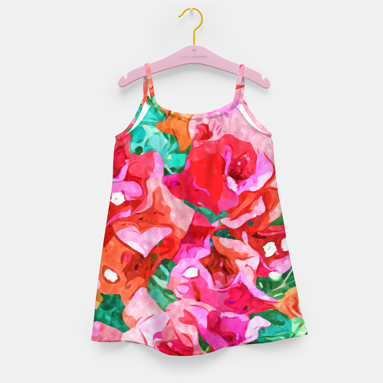 Image of Wild Bougainvillea, Bloom Summer Floral Bohemian Pop of Color Botanical Jungle Watercolor Painting Girl's dress - Live Heroes