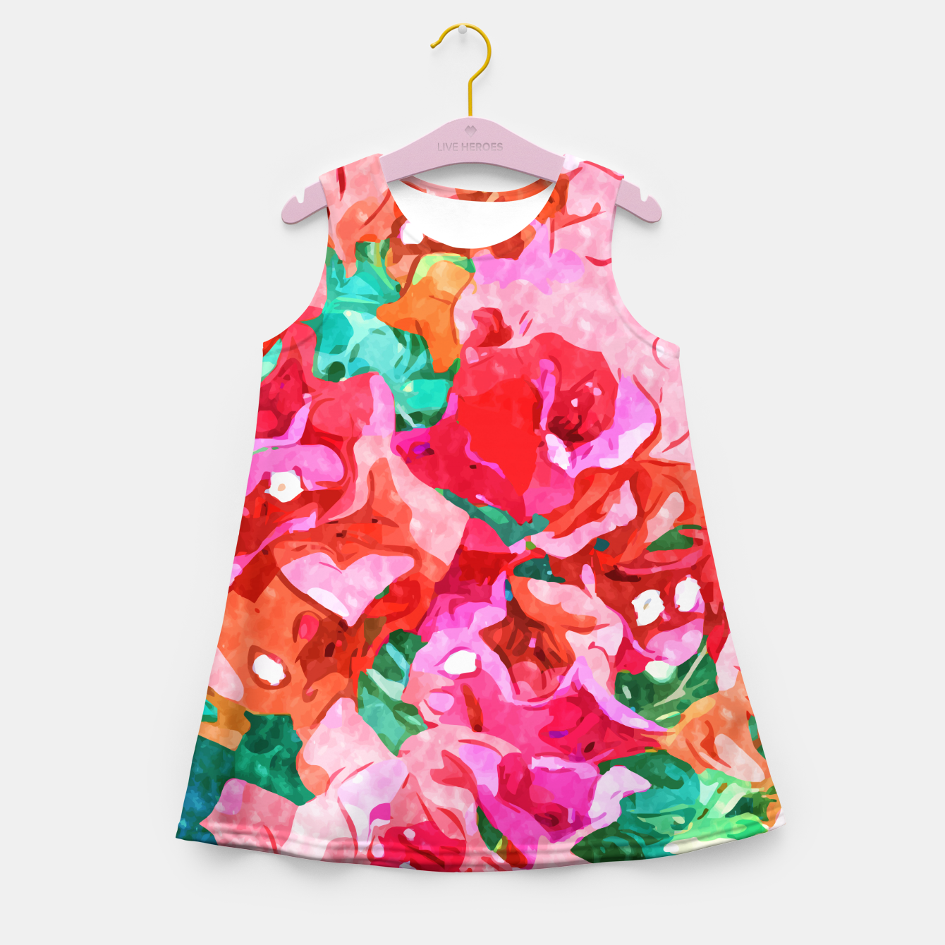 Image of Wild Bougainvillea, Bloom Summer Floral Bohemian Pop of Color Botanical Jungle Watercolor Painting Girl's summer dress - Live Heroes