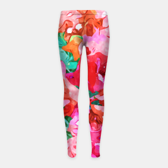 Wild Bougainvillea, Bloom Summer Floral Bohemian Pop of Color Botanical Jungle Watercolor Painting Girl's leggings thumbnail image