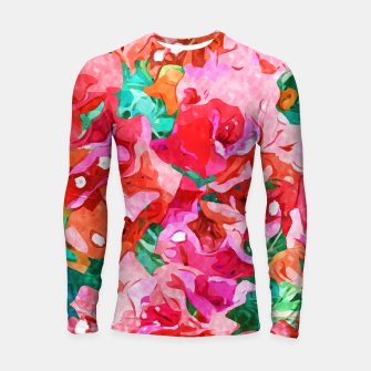 Wild Bougainvillea, Bloom Summer Floral Bohemian Pop of Color Botanical Jungle Watercolor Painting Longsleeve rashguard  thumbnail image