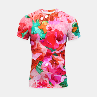 Thumbnail image of Wild Bougainvillea, Bloom Summer Floral Bohemian Pop of Color Botanical Jungle Watercolor Painting Shortsleeve rashguard, Live Heroes