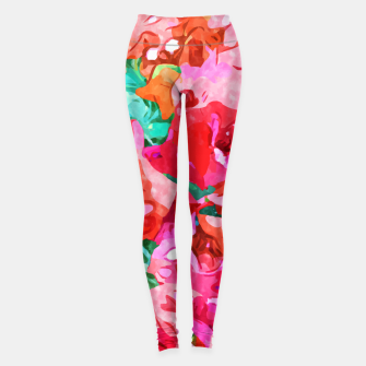 Wild Bougainvillea, Bloom Summer Floral Bohemian Pop of Color Botanical Jungle Watercolor Painting Leggings thumbnail image