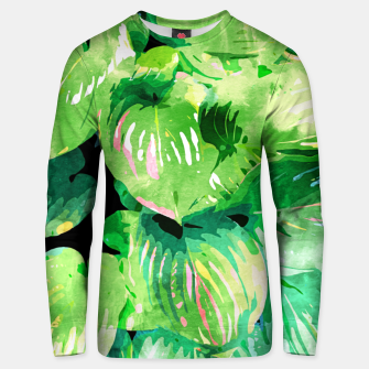 Colors Of The Jungle, Rain Tropical Forest Watercolor Painting, Lush Bohemian Plants Illustration  Unisex sweater thumbnail image
