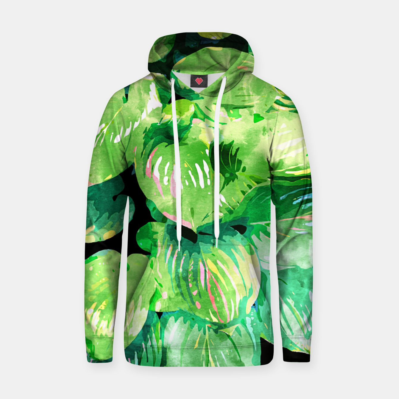 Image of Colors Of The Jungle, Rain Tropical Forest Watercolor Painting, Lush Bohemian Plants Illustration  Hoodie - Live Heroes