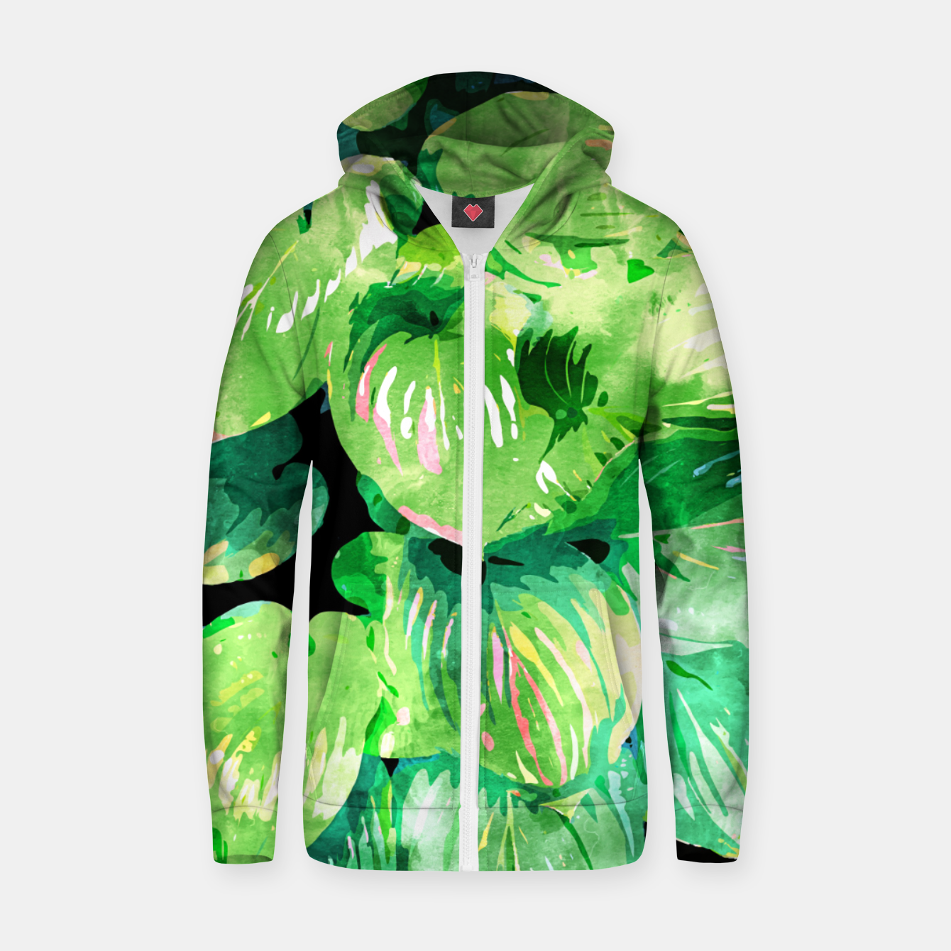 Image of Colors Of The Jungle, Rain Tropical Forest Watercolor Painting, Lush Bohemian Plants Illustration  Zip up hoodie - Live Heroes