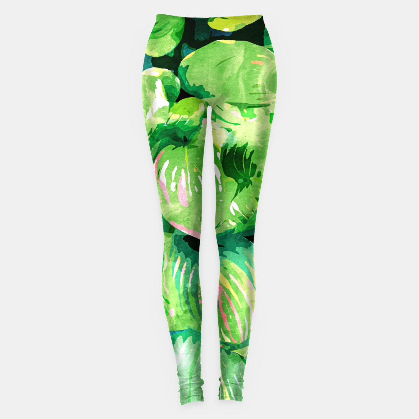 Image of Colors Of The Jungle, Rain Tropical Forest Watercolor Painting, Lush Bohemian Plants Illustration  Leggings - Live Heroes