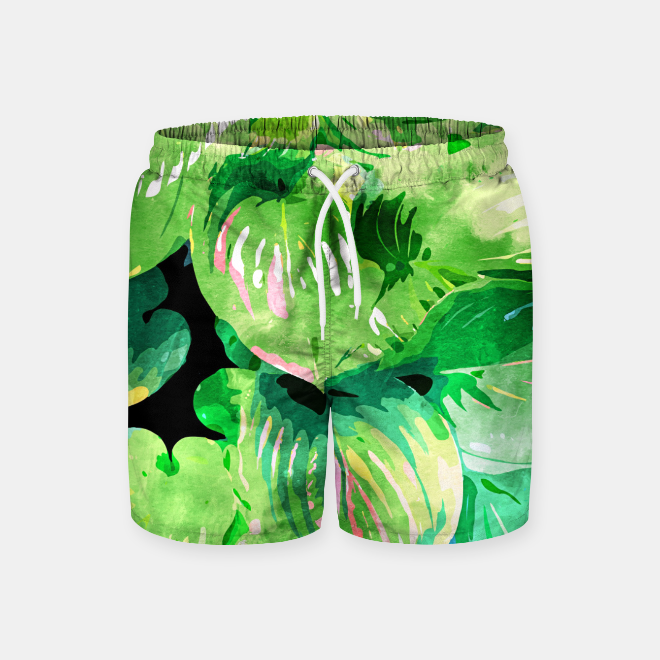 Image of Colors Of The Jungle, Rain Tropical Forest Watercolor Painting, Lush Bohemian Plants Illustration  Swim Shorts - Live Heroes