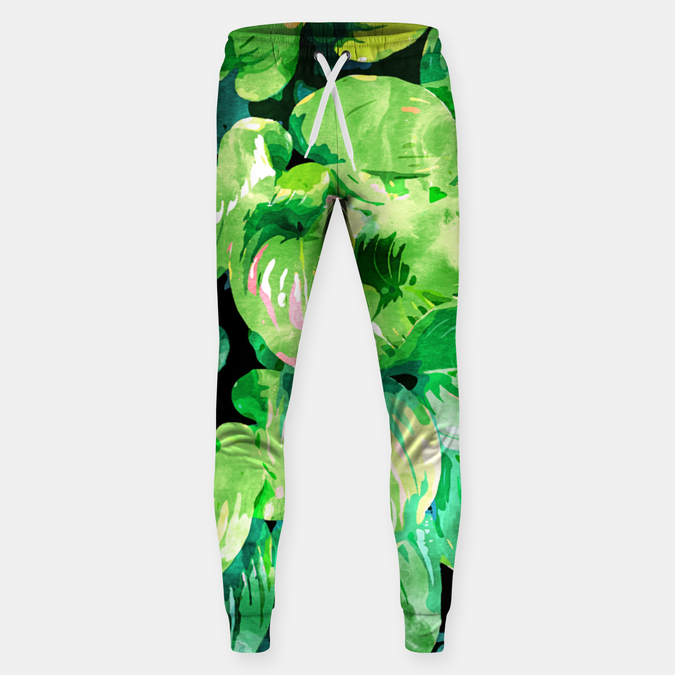 Image of Colors Of The Jungle, Rain Tropical Forest Watercolor Painting, Lush Bohemian Plants Illustration  Sweatpants - Live Heroes