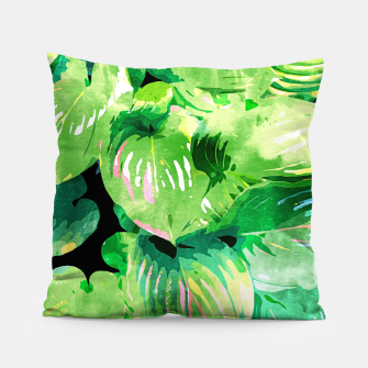 Colors Of The Jungle, Rain Tropical Forest Watercolor Painting, Lush Bohemian Plants Illustration  Pillow thumbnail image