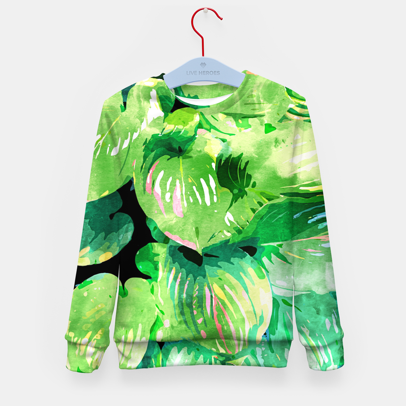 Image of Colors Of The Jungle, Rain Tropical Forest Watercolor Painting, Lush Bohemian Plants Illustration  Kid's sweater - Live Heroes