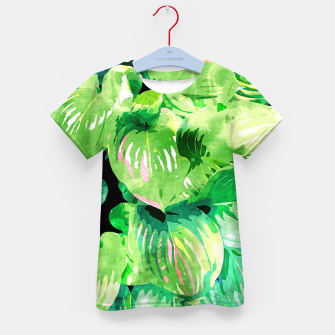 Imagen en miniatura de Colors Of The Jungle, Rain Tropical Forest Watercolor Painting, Lush Bohemian Plants Illustration  Kid's t-shirt, Live Heroes