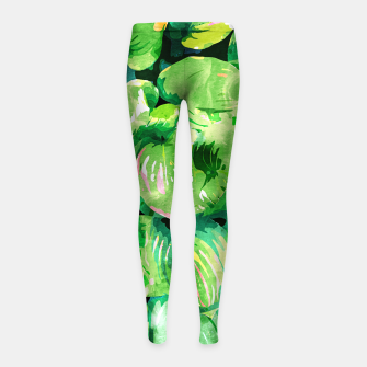 Colors Of The Jungle, Rain Tropical Forest Watercolor Painting, Lush Bohemian Plants Illustration  Girl's leggings thumbnail image