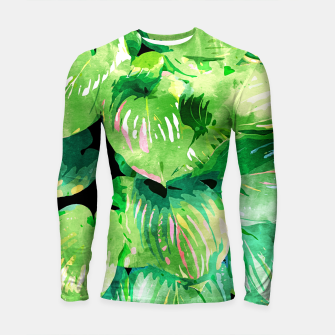 Colors Of The Jungle, Rain Tropical Forest Watercolor Painting, Lush Bohemian Plants Illustration  Longsleeve rashguard  thumbnail image