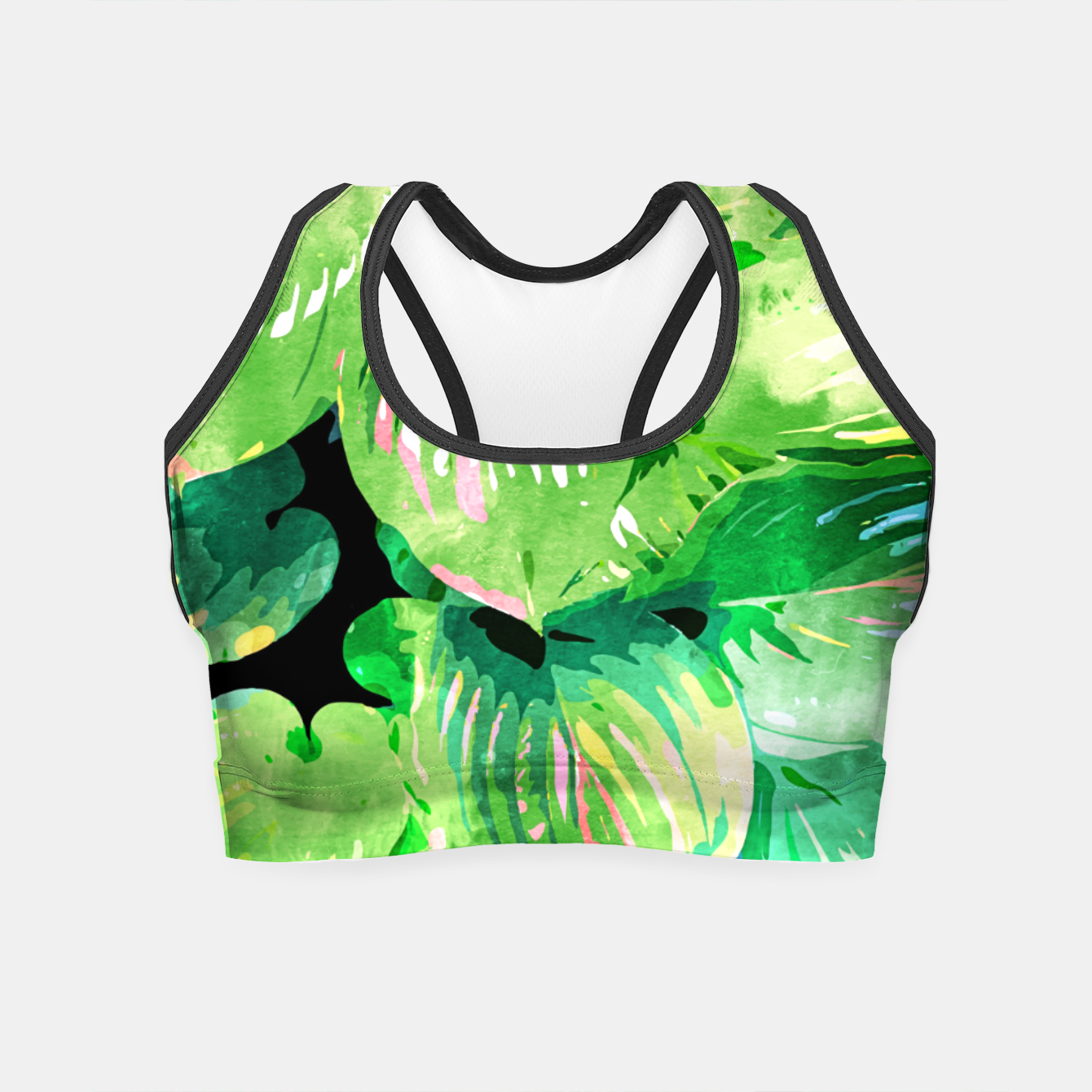 Image of Colors Of The Jungle, Rain Tropical Forest Watercolor Painting, Lush Bohemian Plants Illustration  Crop Top - Live Heroes