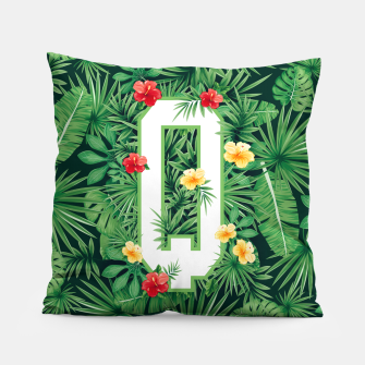 Capital Letter Q Alphabet Monogram Initial Flower Gardener Pillow thumbnail image